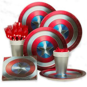 Captain America Shield Birthday Party Standard Tableware Kit (Serves 60)