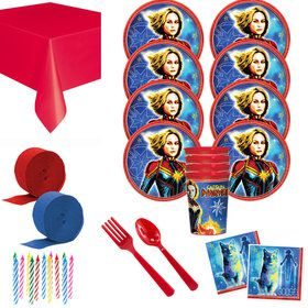 Captain Marvel Deluxe Tableware Kit with Favor Cups (Serves 8)