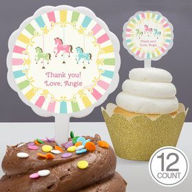 Carousel Personalized Cupcake Picks (12 Count)
