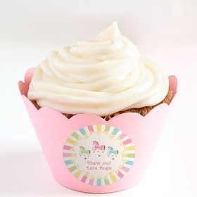 Carousel Personalized Cupcake Wrappers (Set of 24)