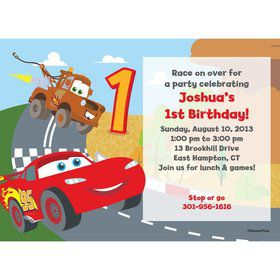 Cars 1st Birthday Personalized Invitation (Each)