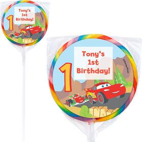 Cars 1st Birthday Personalized Lollipop (12 Pack)