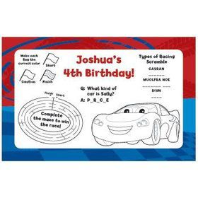 Cars Too Personalized Activity Mats (8-pack)