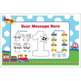 Cars, Trucks, & Trains Personalized Activity Mat (8 Count)