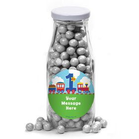 Cars, Trucks, & Trains Personalized Glass Milk Bottles (10 Count)