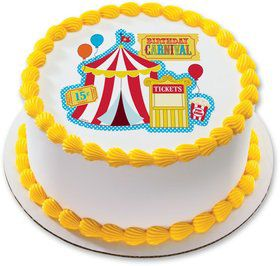 "Carvinal 7.5"" Round Edible Cake Topper (Each)"