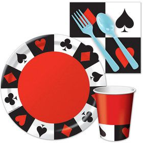 Casino Standard Birthday Party Tableware Kit Serves 8