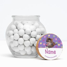 "Cat Party Personalized 3"" Glass Sphere Jars (Set of 12)"