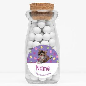 "Cat Party Personalized 4"" Glass Milk Jars (Set of 12)"