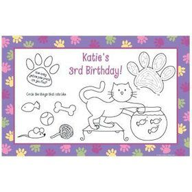 Cat Party Personalized Activity Mats (8-pack)