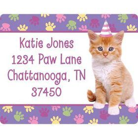 Cat Party Personalized Address Labels (sheet of 15)