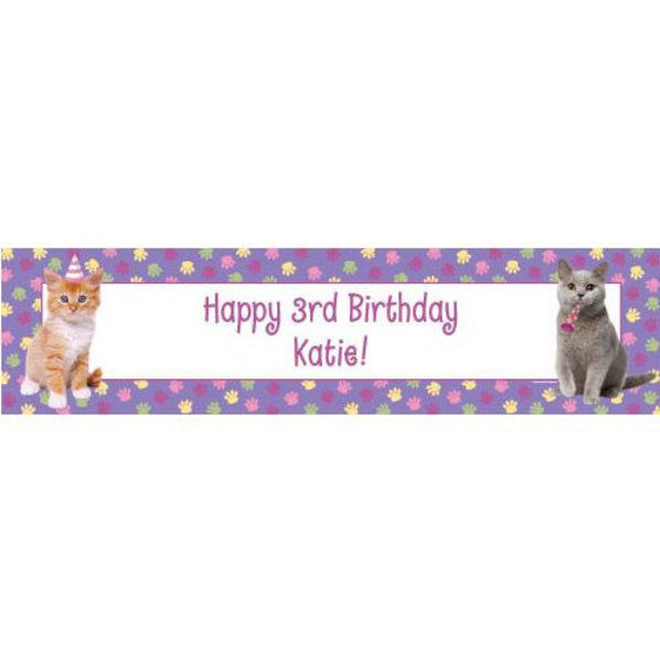 Cat Birthday Banner: Cat Party Personalized Banner