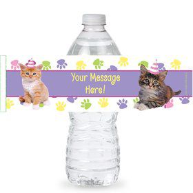 Cat Party Personalized Bottle Labels (Sheet of 4)