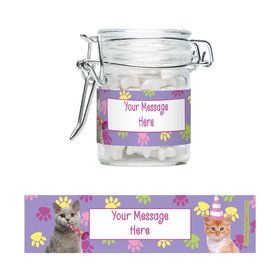 Cat Party Personalized Glass Apothecary Jars (12 Count)