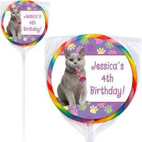 Cat Party Personalized Lollipops (pack of 12)