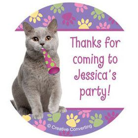 Cat Party Personalized Stickers (sheet of 12)