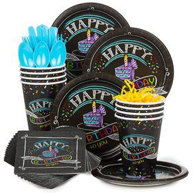 Chalk Birthday Party Standard Tableware Kit Serves 8