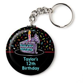 "Chalk Birthday Personalized 2.25"" Key Chain (Each)"