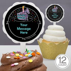 Chalk Birthday Personalized Cupcake Picks (12 Count)