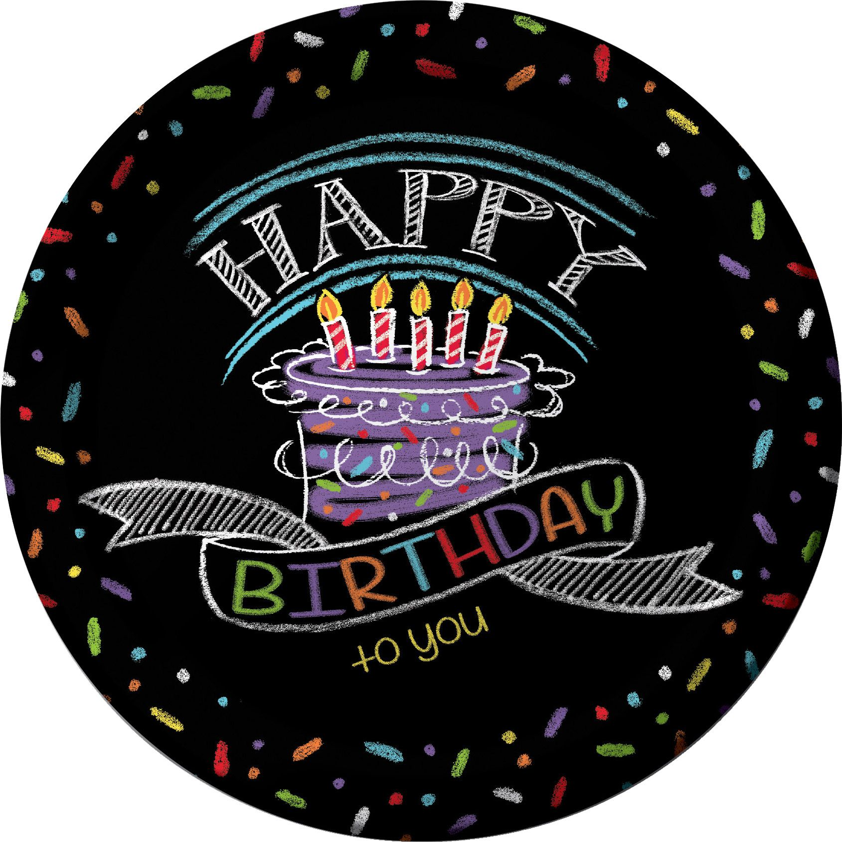 """Chalk Party Supplies 9"""" Luncheon Plates (8 Pack) BB425971"""