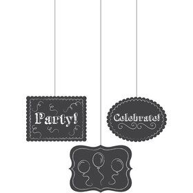 Chalkboard Hanging Cutout Decorations (3 Pack)