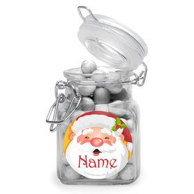 Cheerful Santa Personalized Glass Apothecary Jars (10 Count)