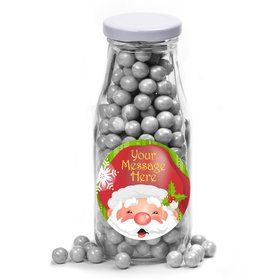 Cheerful Santa Personalized Glass Milk Bottles (12 Count)