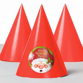 Cheerful Santa Personalized Party Hats (8 Count)