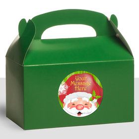 Cheerful Santa Personalized Treat Favor Boxes (12 Count)