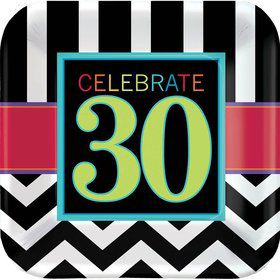"Chevron Mix 30th Birthday 9"" Luncheon Plate (8 Pack)"