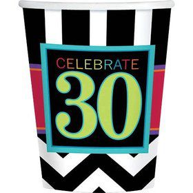 Chevron Mix 30th Birthday 9oz Cups (8 Pack)
