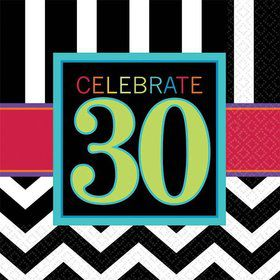 Chevron Mix 30th Birthday Beverage Napkins (16 Pack)