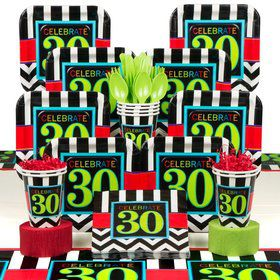Chevron Mix 30th Birthday Deluxe Tableware Kit Serves 8