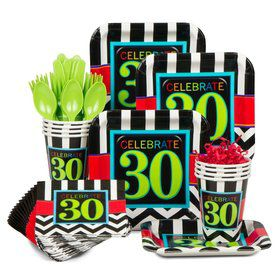 Chevron Mix 30th Birthday Standard Tableware Kit Serves 8
