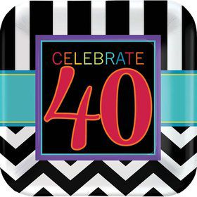 "Chevron Mix 40th Birthday 7"" Cake Plates (8 Pack)"