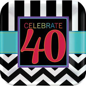 "Chevron Mix 40th Birthday 9"" Luncheon Plate (8 Pack)"