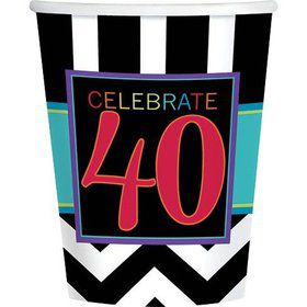 Chevron Mix 40th Birthday 9oz Cups (8 Pack)