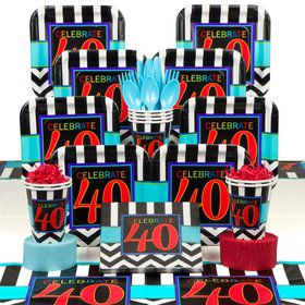 Chevron Mix 40th Birthday Deluxe Tableware Kit Serves 8