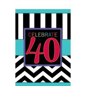 Chevron Mix 40th Birthday Table Cover (Each)