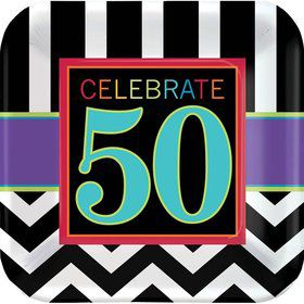 "Chevron Mix 50th Birthday 7"" Cake Plates (8 Pack)"