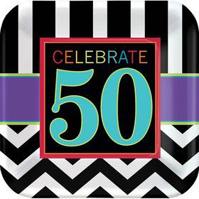 "Chevron Mix 50th Birthday 9"" Luncheon Plate (8 Pack)"