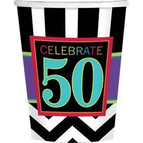 Chevron Mix 50th Birthday 9oz Cups (8 Pack)