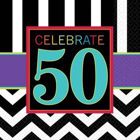 Chevron Mix 50th Birthday Beverage Napkins (16 Pack)