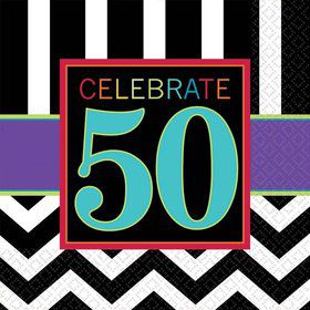 Chevron Mix 50th Birthday Luncheon Napkins (16 Pack)