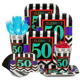 Chevron Mix 50th Birthday Standard Tableware Kit Serves 8