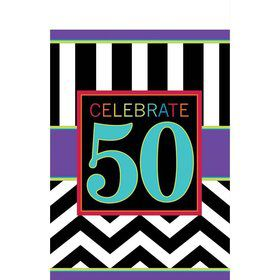 Chevron Mix 50th Birthday Table Cover (Each)