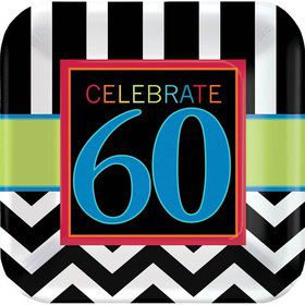 "Chevron Mix 60th Birthday 7"" Cake Plates (8 Pack)"