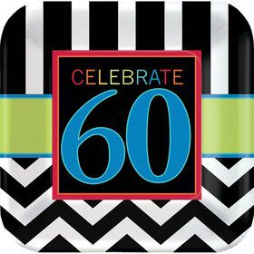 "Chevron Mix 60th Birthday 9"" Luncheon Plate (8 Pack)"
