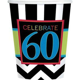 Chevron Mix 60th Birthday 9oz Cups (8 Pack)