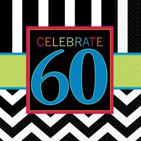 Chevron Mix 60th Birthday Beverage Napkins (16 Pack)